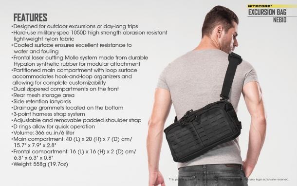 Specifiche della borsa Nitecore NEB10