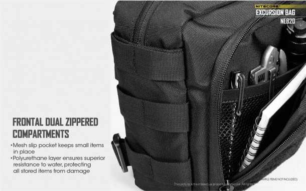 The frontal dual zippered compartments and side loops