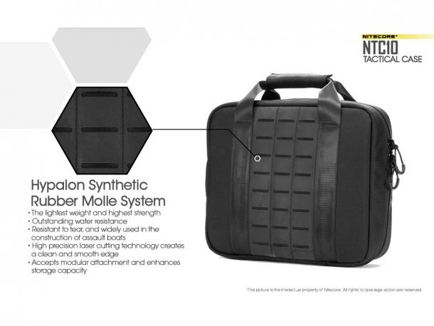 La borsa Nitecore NTC10 è realizzata in cordura, con pannelli MOLLE in sintetico