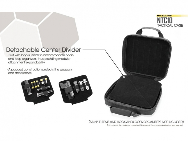 The detachable center divider can also host hook-and-loop extensions