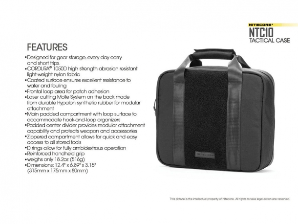The main features of the Nitecore NTC10 Tactical Bag