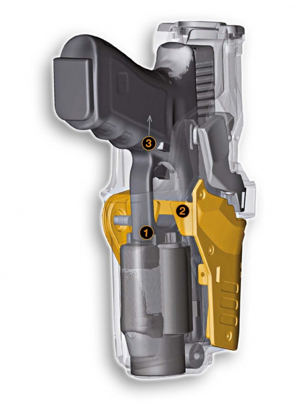 Sectioned view of the pistol holster, with the CRAB system (in yellow)