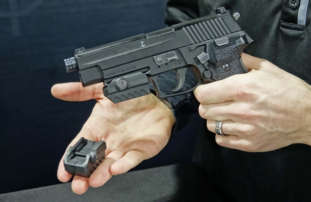 The MantisX universal handgun attachment on display at the 2017 SHOT Show