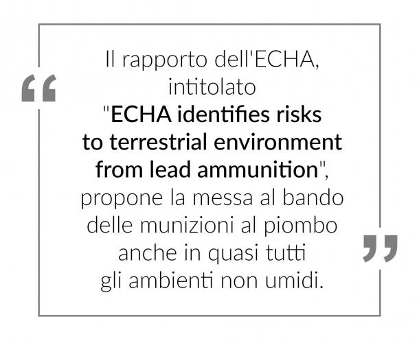 Munizioni al piombo sotto attacco: l'ECHA ci riprova!
