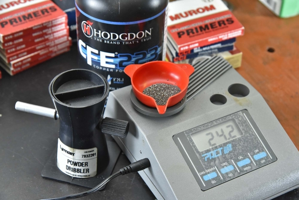 La dose utilizzata per le prove: 24,2 grani di polvere Hodgdon CFE223