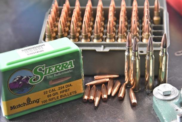 I proiettili SIERRA Match King HPBT da 69 grani utilizzate per la prova