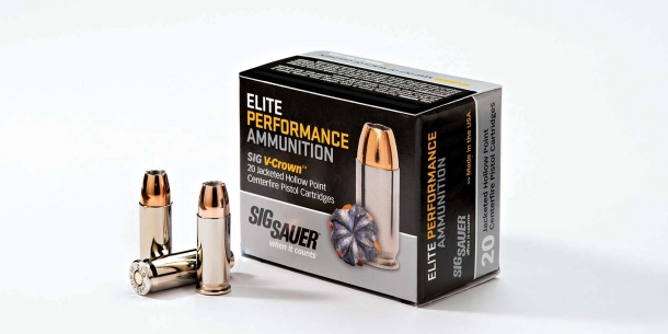 The SIG Sauer .38 Super +P JHP with V-Crown Elite Performance ammunition