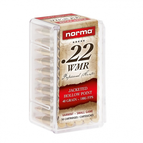 Norma .22 WMR Jacketed Hollow Point ammunition