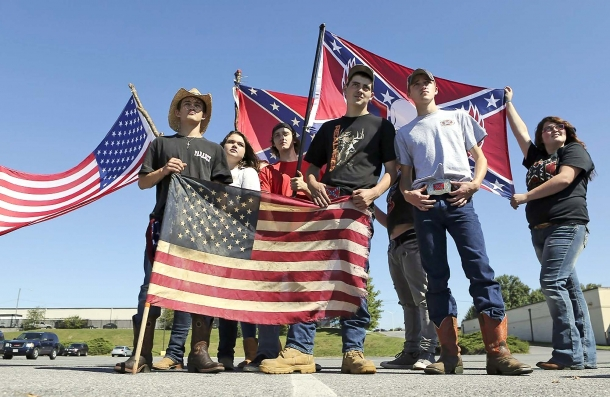 "Young Americans supporting the cultural meaning of ""both"" flags"