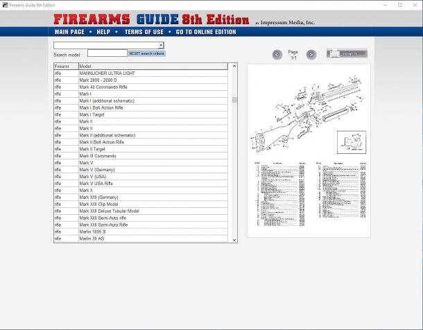 Un'altra caratteristica della Firearms Guide: gli esplosi tecnici