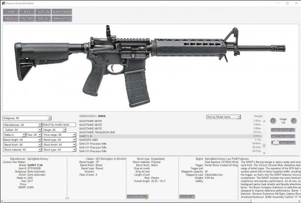 La tipica scheda della Firearms Guide per un'arma sportiva moderna...