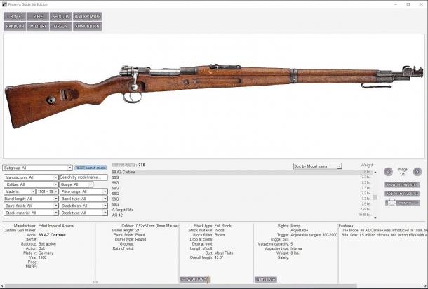 Oltre alle armi moderne, la Firearms Guide copre le armi antiche e classiche