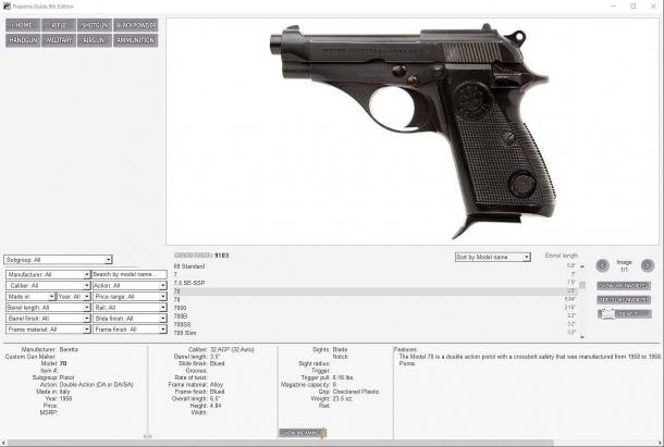 La Firearms Guide copre anche alcuni dei modelli storici più importanti