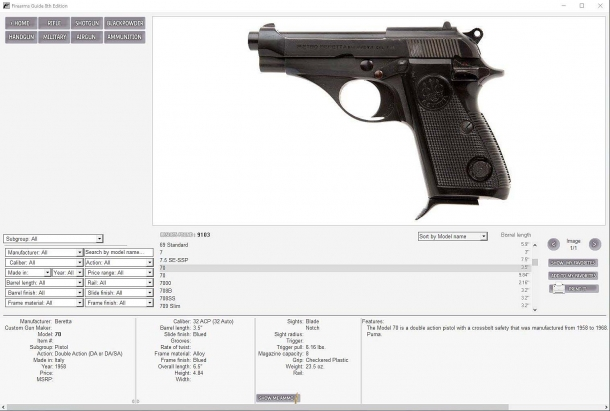 The Firearms Guide also covers several popular out-of-production historical models from several prominent manufacturers
