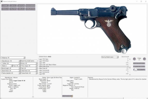 Each firearm is covered with an extensive technical specs file