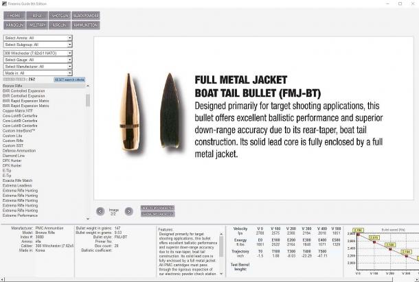 Non solo armi da fuoco: la Firearms Guide copre anche le munizioni, con tavole balistiche complete