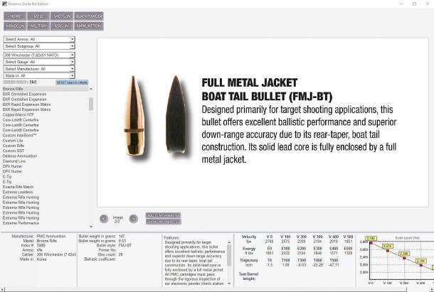 The Firearms Guide also offers a prominent ammunition section, with full ballistic specs