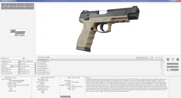 Each firearm is covered with full technical specifications and high-resolution pictures