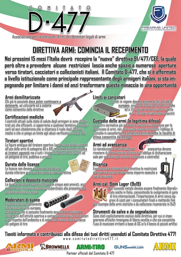 Il Comitato Direttiva 477 ha chiarito da tempo quali sono i punti che intende perseguire in fase di recepimento della direttiva europea sulle armi