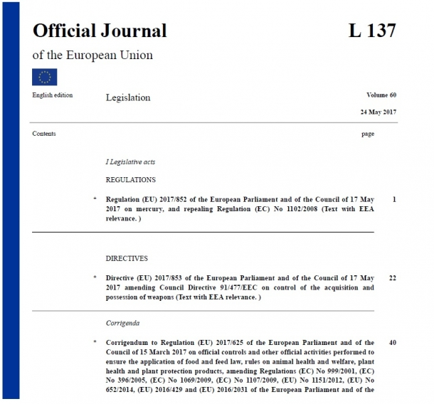 The new version of the European firearms directive has been published officially on May 24th