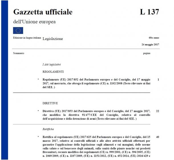 Approvata dall'Europarlamento lo scorso marzo, la nuova versione della direttiva europea sulle armi è stata pubblicata sulla Gazzetta Ufficiale dell'UE il 24 maggio 2017