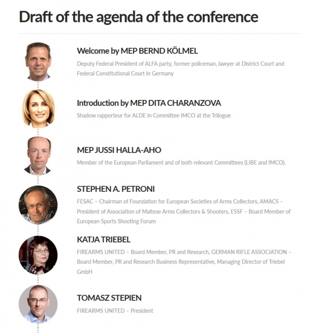 The conference will be chaired by members of the Firearms United board and by Members of the European Parliament