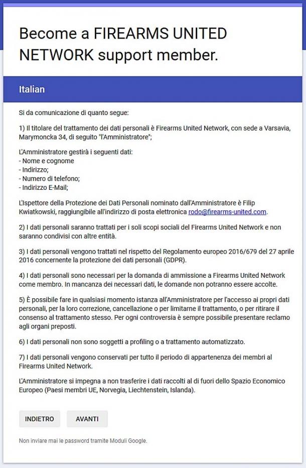I dati personali forniti al Firearms United Network per il tesseramento saranno trattati nel rispetto del regolamento europeo vigente (GDPR)