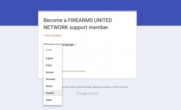 A multi-language membership application form has been uploaded and is fully active for prospective Firearms United Network members
