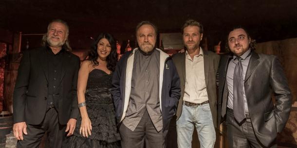 Il Maestro d'Armi Ottaviano dell'Acqua, l'attrice Yassmin Pucci, l'attore Franco Nero, il regista Emiliano Ferrera e il produttore Tiziano Carnevale