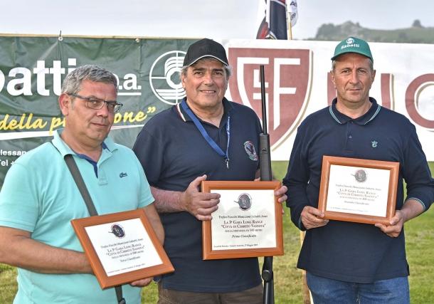 I vincitori del Trofeo Fiocchi-Sabatti. Da sinistra: Roberto di Martino (3°), Stefano Sita (1°) e Lucio Saccomanno (2°)