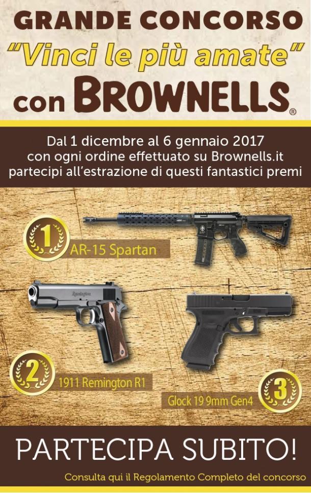 """La locandina del concorso """"Vinci le più amate"""" di Brownells Italia"""