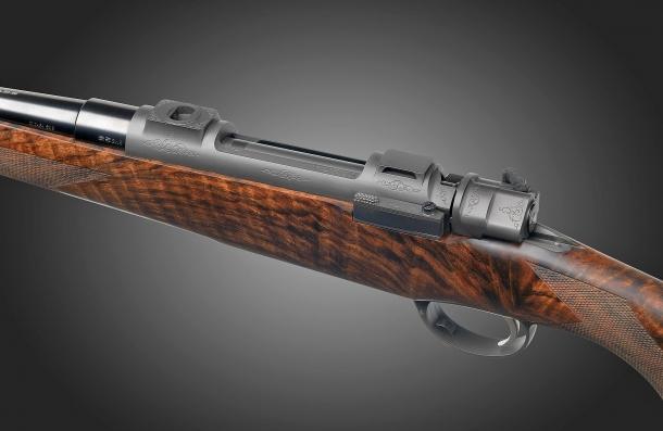 A detail of the Fanzoj Titanium TI-1 Bolt-Action Rifle