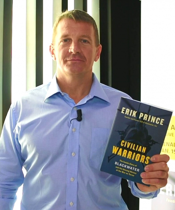 "The businessman Erik Prince, owner of the Blackwater brand and author of the book ""Civilian Warriors"" dedicated to the story of the Blackwater agency"