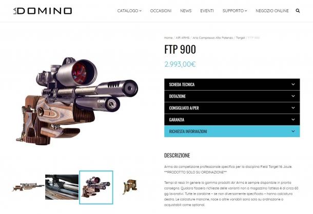 Nel nuovo sito La Domino ogni arma è presentata e descritta in modo chiaro