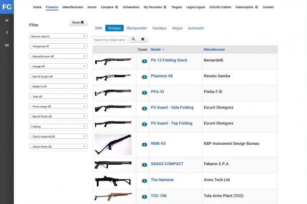 Shotgun search sample page
