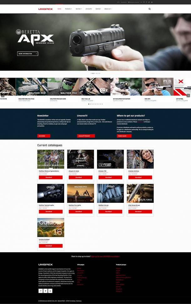 The homepage of the new Umarex website