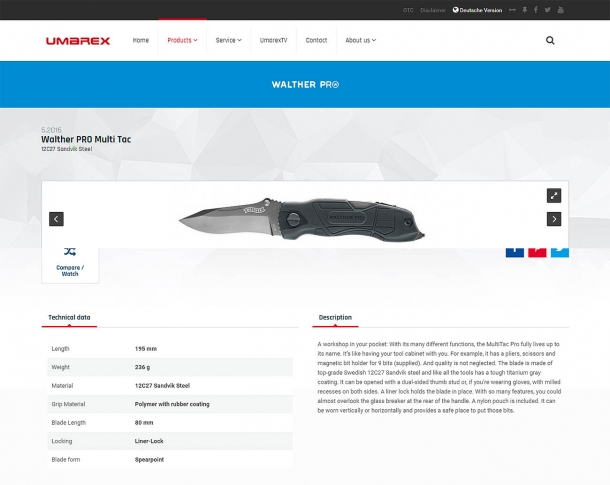 ...and knives dedicated pages on the Umarex website