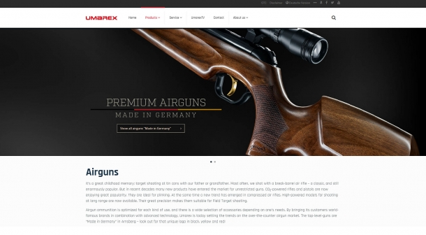 The new Umarex website is clean and stylish