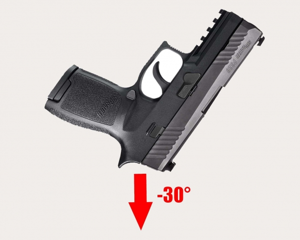 "The ""thirty-degrees negative angle"" drop that would cause the SIG Sauer P320 to accidentally discharge"