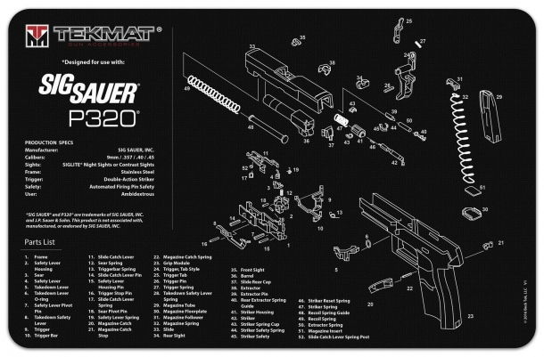 An exploded diagram of the P320 pistol: rumors concerning the severity of its safety flaws are getting bigger day by day