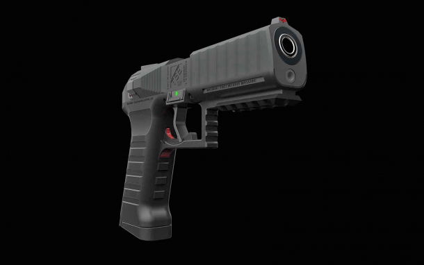 Among the features of the 'Symmetrical' pistol design is a SA/DA trigger with a slide-mounted decocker and manual safety