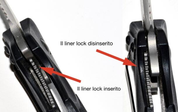 il linerlock è costituito da una lamina elastica metallica che, a lama in apertura, si dispone contro il tallone della lama stessa, impedendone la chiusura involontaria