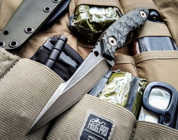 The blade of the Wander Tactical Barracuda prototype combat knife is manufactured out of D2 steel