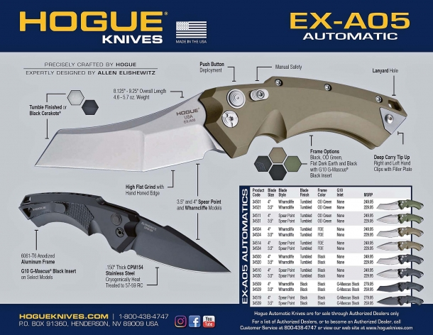 The technical specs and price list for the Hogue Knives EX-A05 models