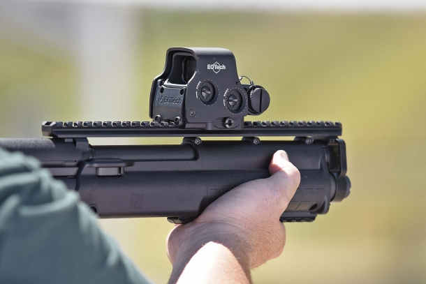 The EOTech EXPS3 holographic sight on a Kel-Tec KSG shotgun