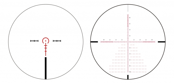 The two reticles used on the Sightmark Citadel rifle scopes