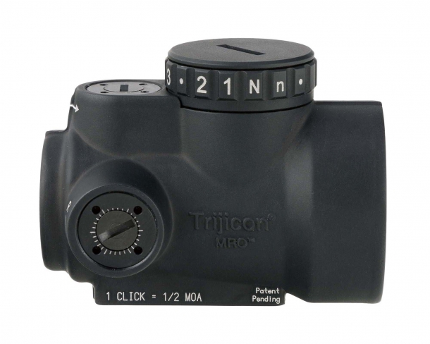 The trijicon MRO is powered by a single CR2032 commercial lithium battery