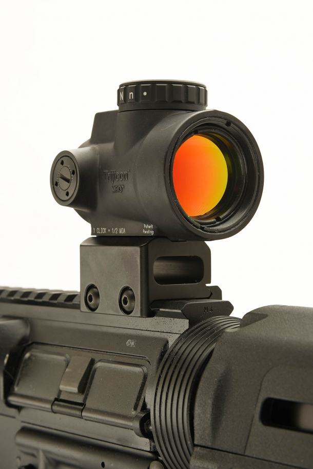 A full frontal view of Trijicon's miniature rifle optic