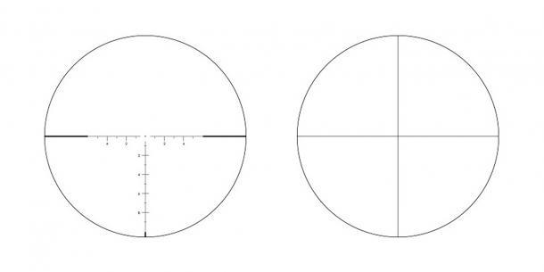 I due reticoli disponibili: ECR-1 (a sinistra) e SCR-1 (a destra)