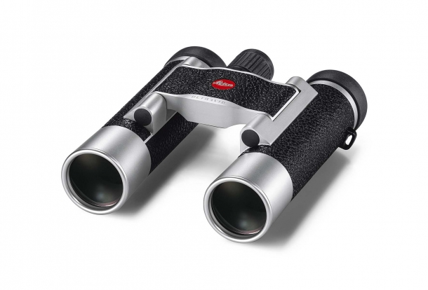 The Leica Ultravid 8x20 binocular, with silver housing